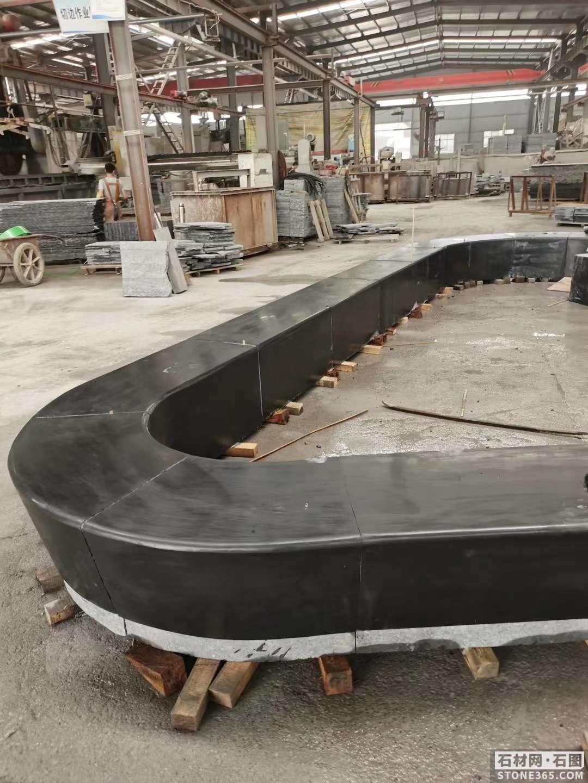 中国黑环形石凳异形加工