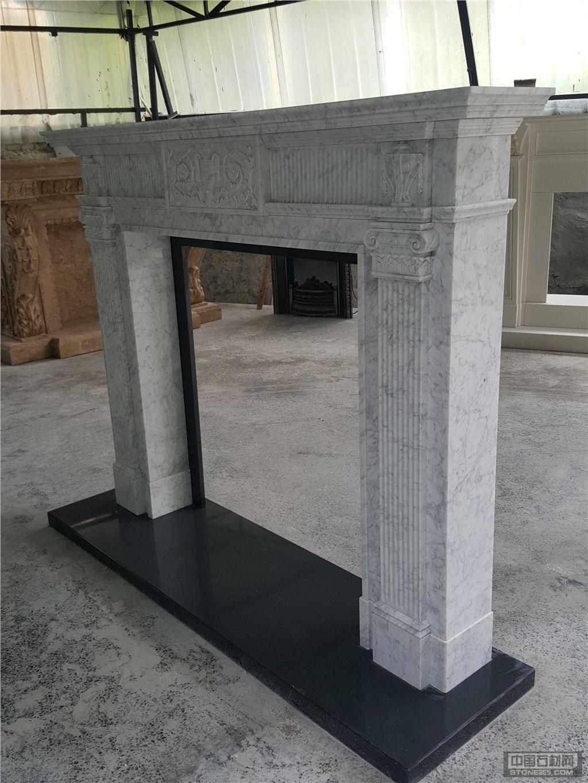 意大利卡拉拉白欧式雕刻壁炉架