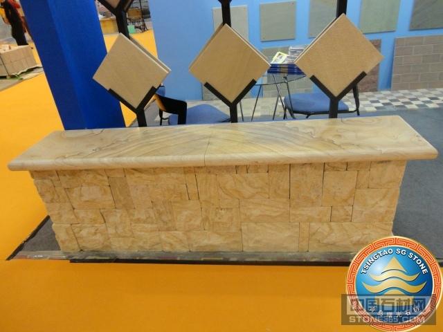 古典黄木纹砂岩石材台面板