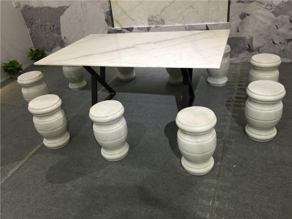 白色大理石桌凳定制