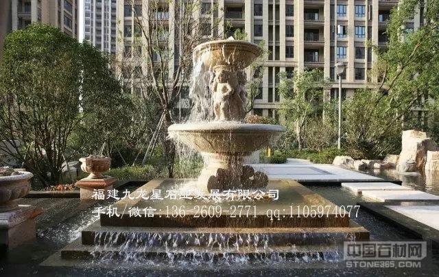 黄锈石喷水池 欧式喷泉雕塑