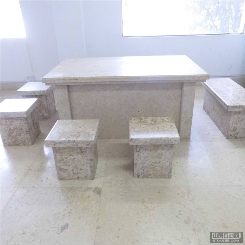 石灰石古典米黄桌凳