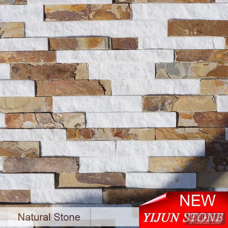 文化石 黄色白色混拼石材 板岩