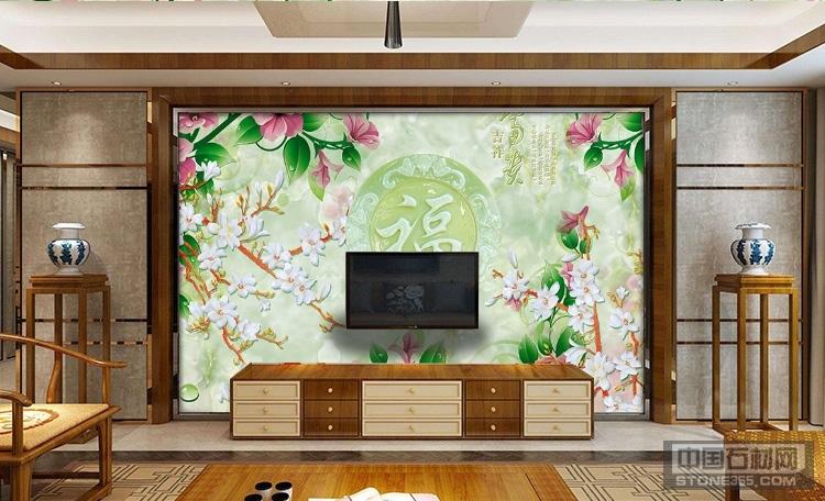 中式复古玉雕人造石电视背景墙 欧式人造石电视背景墙纳米抗污