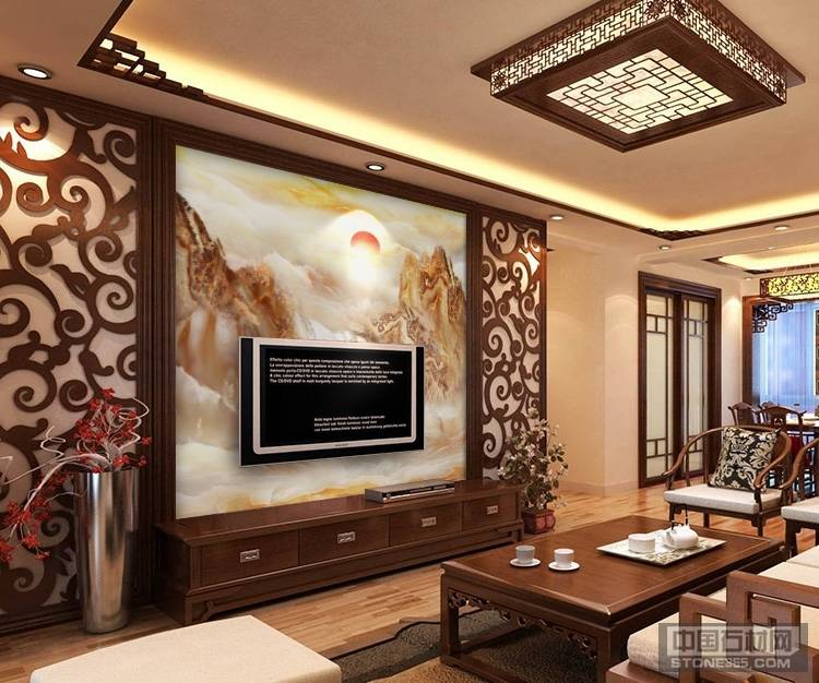 人造石背景墙 岗石电视墙