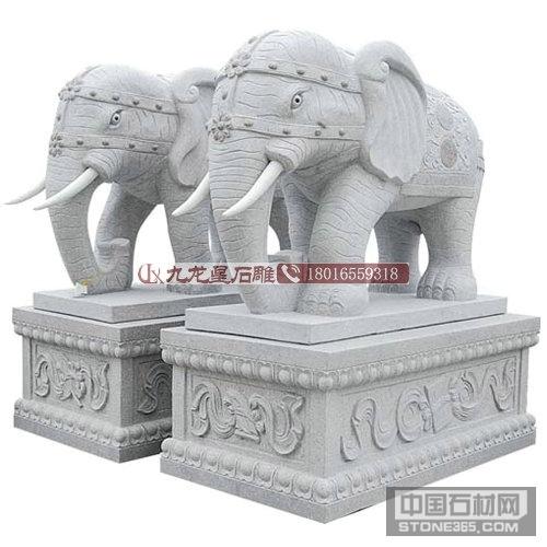 招财进宝别墅石雕大象花岗岩