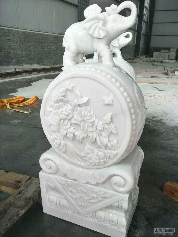 漢白玉1米小象門墩 石雕石鼓