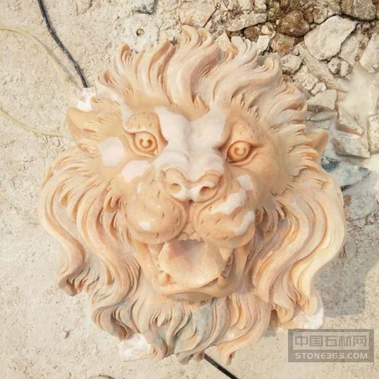 石雕狮子头花岗岩喷水狮子头挂件