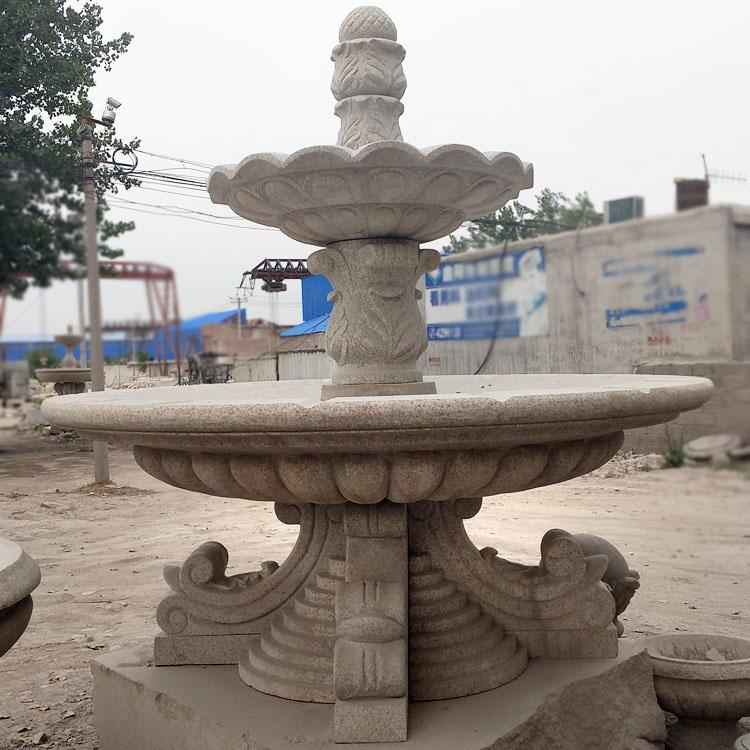 黄锈石水钵户外大型二层喷泉雕塑