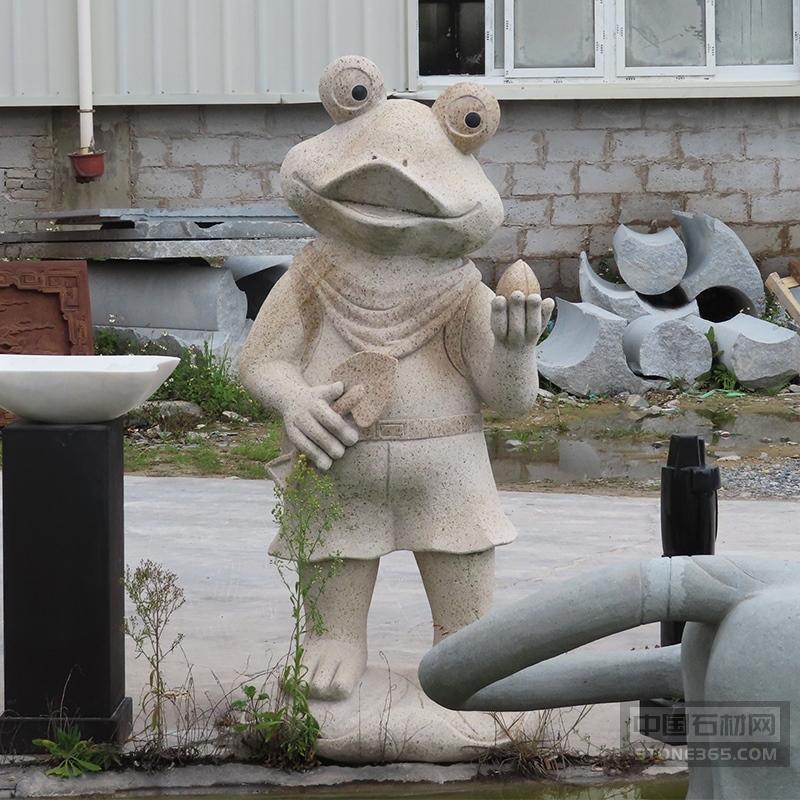 酒店大卡通石雕青蛙花岗岩雕像