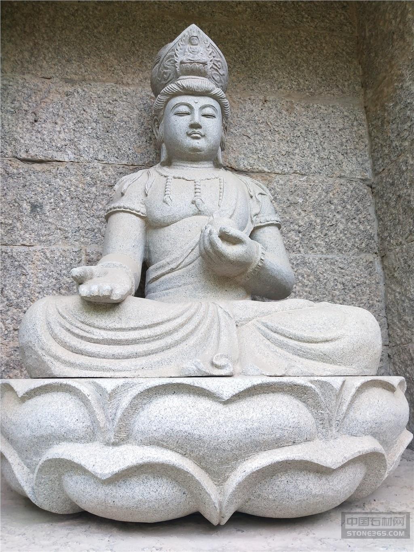 寺庙户外石雕观音菩萨坐像佛祖