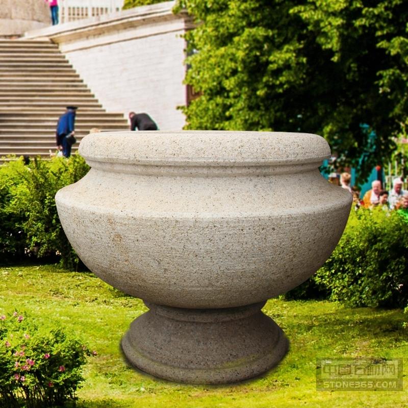 石雕花盆雕塑花岗岩景观花钵摆件
