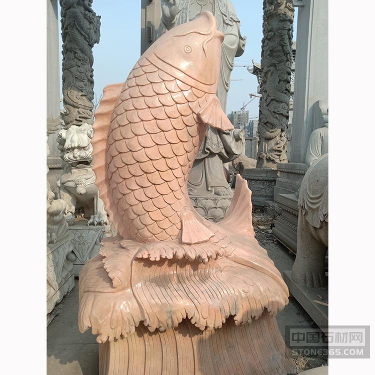 供应晚霞红石雕喷水小鱼