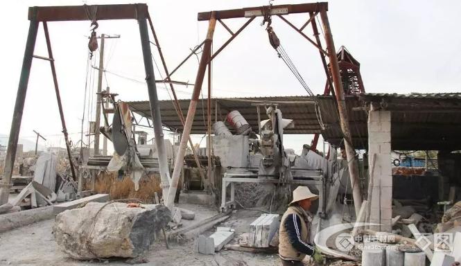 鹤庆县对草海镇海北坪片区第一批石材加工户进