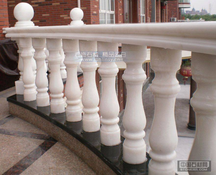 广西白阳台石材栏杆扶手 汉白玉石材栏杆护栏 圆柱罗马柱花瓶柱