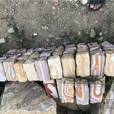 供应天然彩岩石小块石六面自然