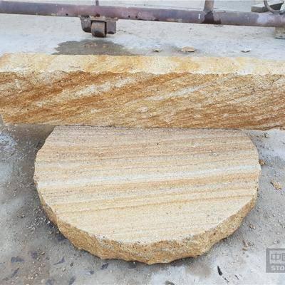 供应黄木纹砂岩板材垒墙拐角石