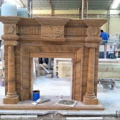供应天然木纹黄大理石壁炉架