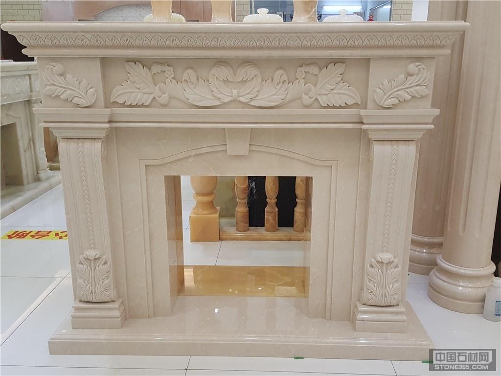莎安娜米黄大理石雕刻壁炉
