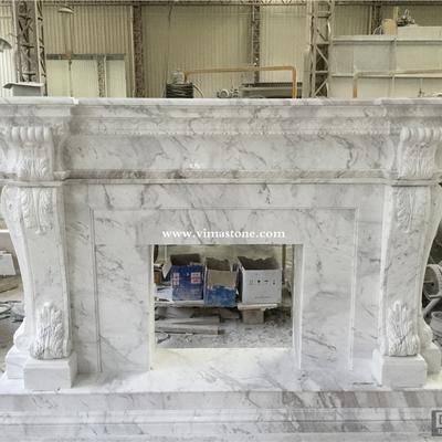 希腊进口爵士白大理石雕刻壁炉架