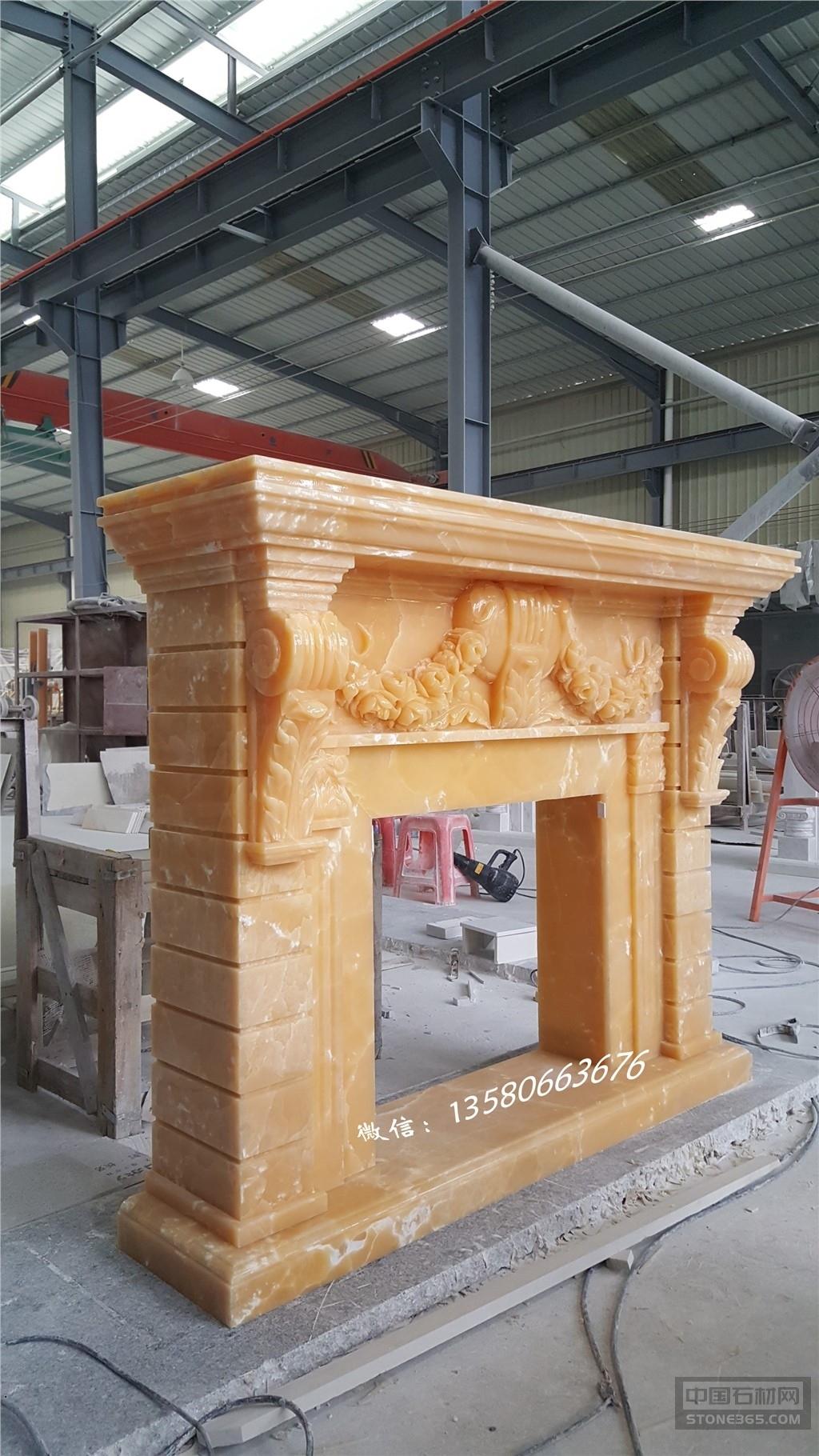 供应进口A级黄玉石手工雕刻壁炉