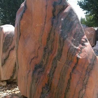 彩霞红景观石