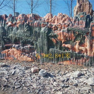 河南晚霞红园林景观石雕刻 石雕
