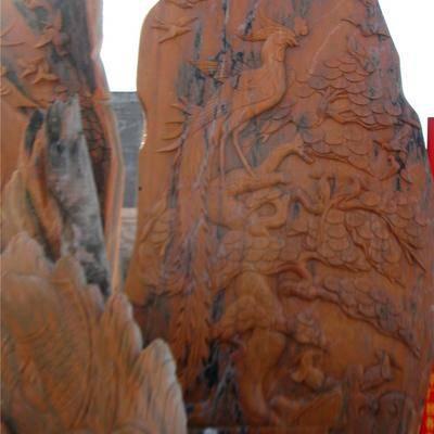 河南晚霞红大理石园林雕塑.浮雕