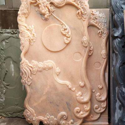 晚霞红石雕工艺品 雕刻茶盘