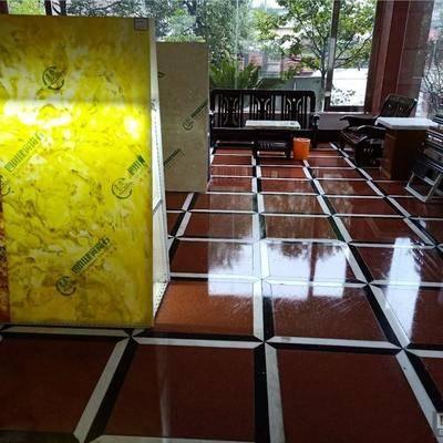 人造玉石+中国红地砖