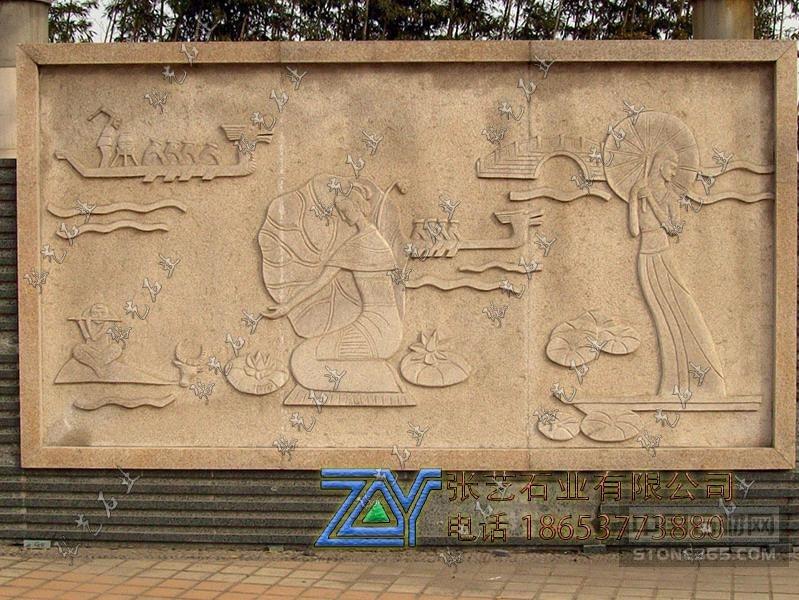 黄砂岩江南烟雨石雕壁画