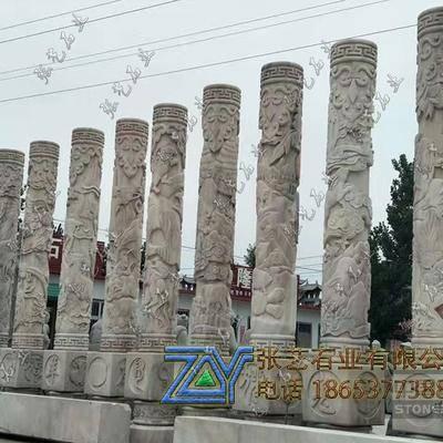 晚霞红石雕十二生肖柱.