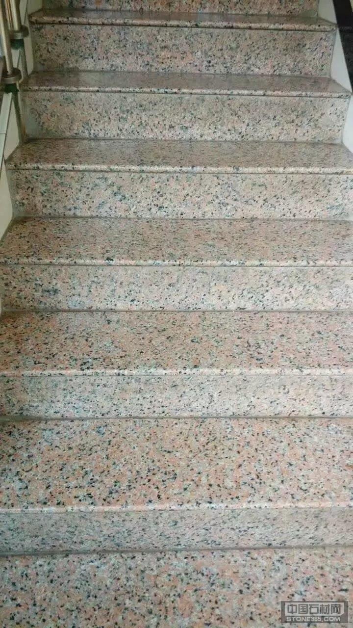 广西粉红麻石材楼梯踏板