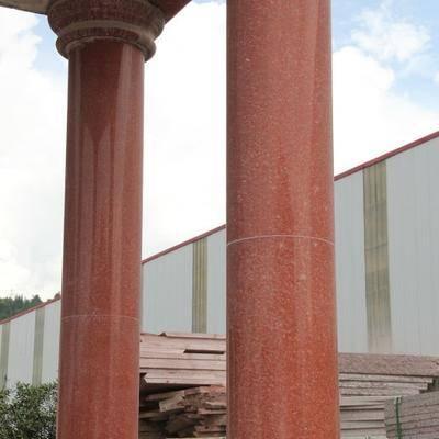 供应中国红四川红荒料圆柱板材