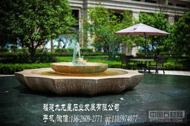 黄锈石喷水池 惠安石雕喷泉厂家