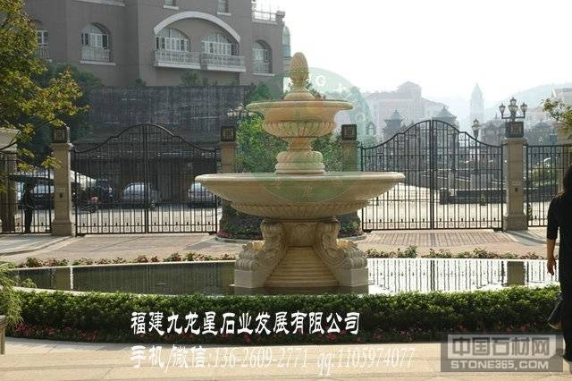 黄锈石水钵 房产工程石雕水钵