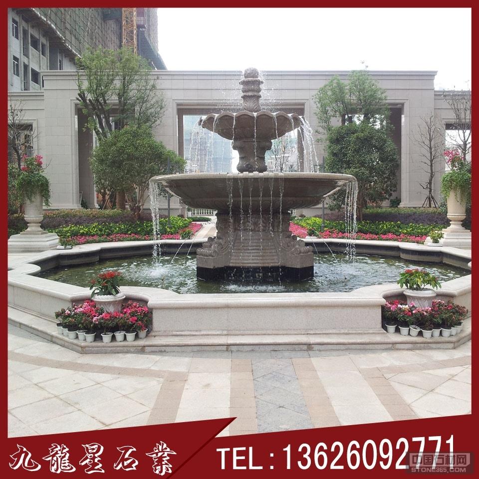 石雕喷泉 双层水钵价钱 喷泉加