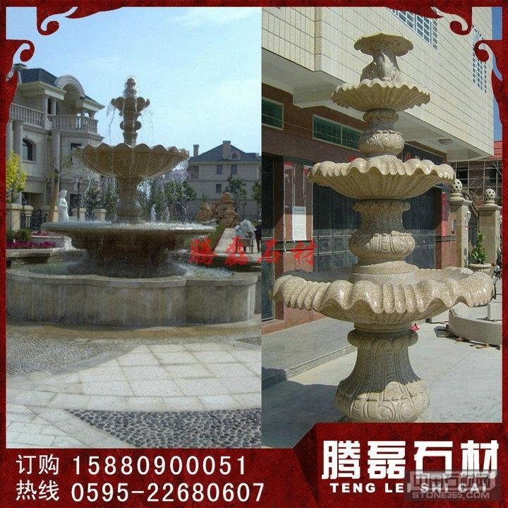 广场黄锈石石雕水钵现货