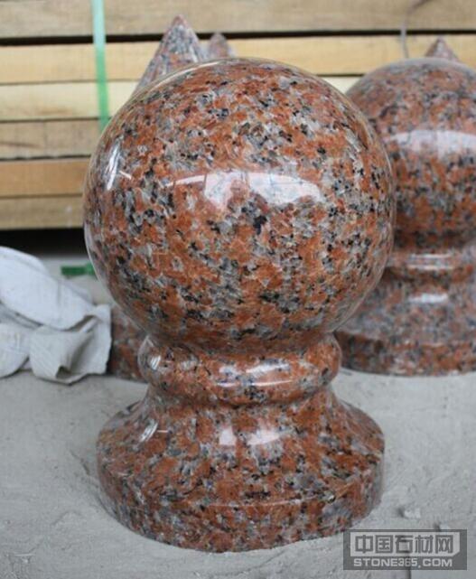 供应枫叶红花岗岩异形石材栏杆花