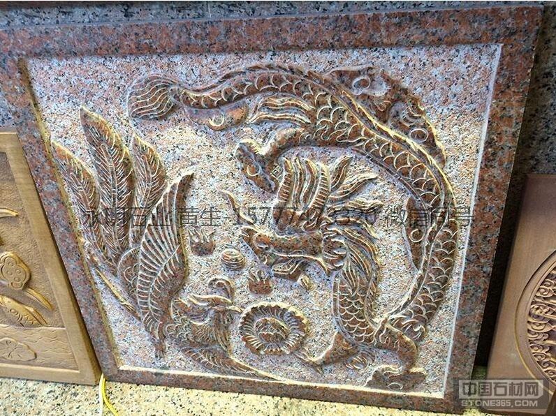 供应枫叶红花岗岩石材雕刻板