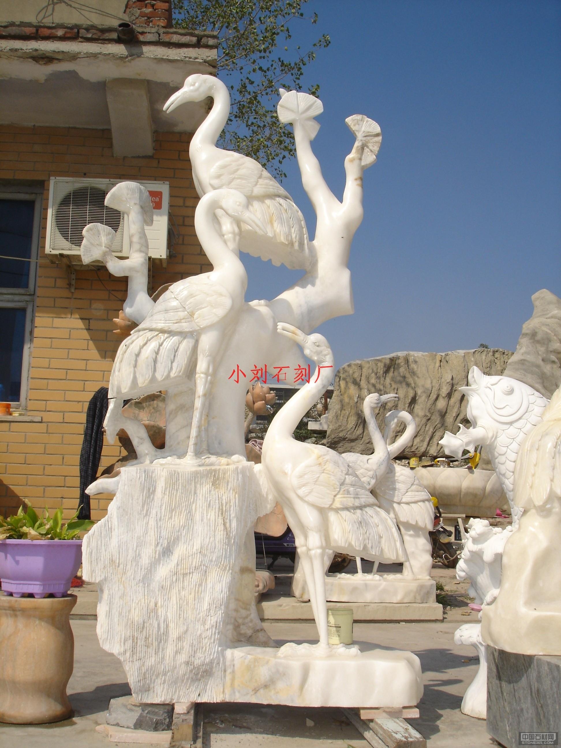 汉白玉仙鹤石雕