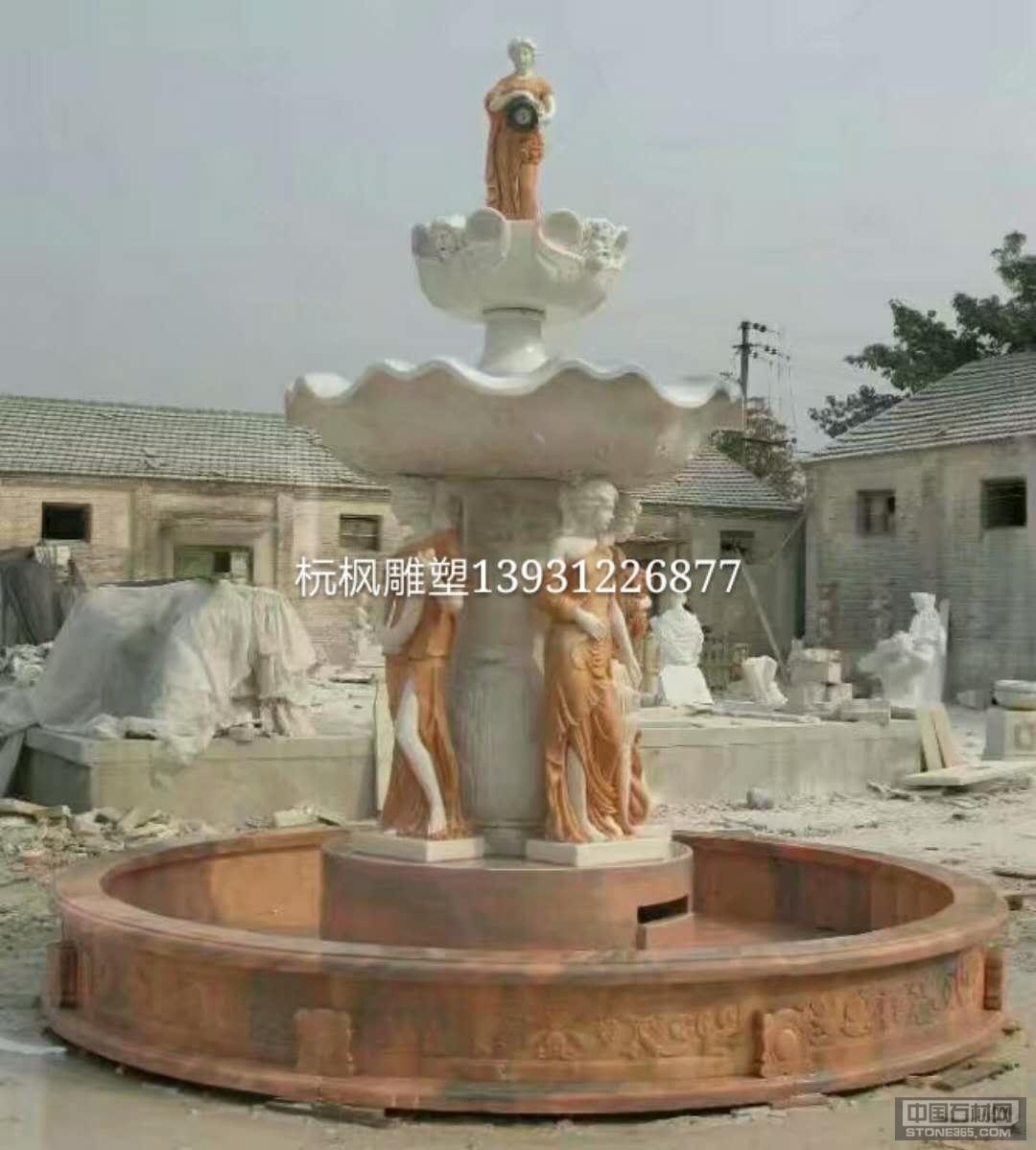 喷泉花钵雕刻石