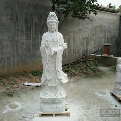汉白玉2米滴水观音送子菩萨石像