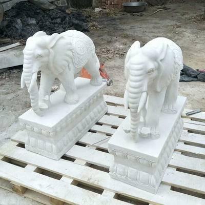 石雕汉白玉一米二卷鼻吉祥大象
