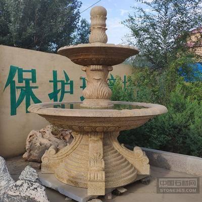 黄锈石流水喷泉大理石景观水池