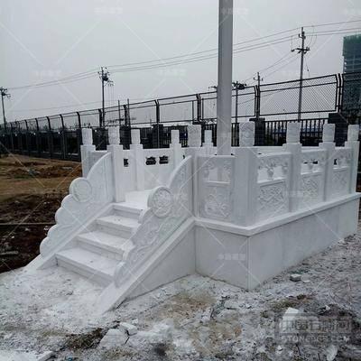 石雕旗台栏杆汉白玉栏板石头护栏