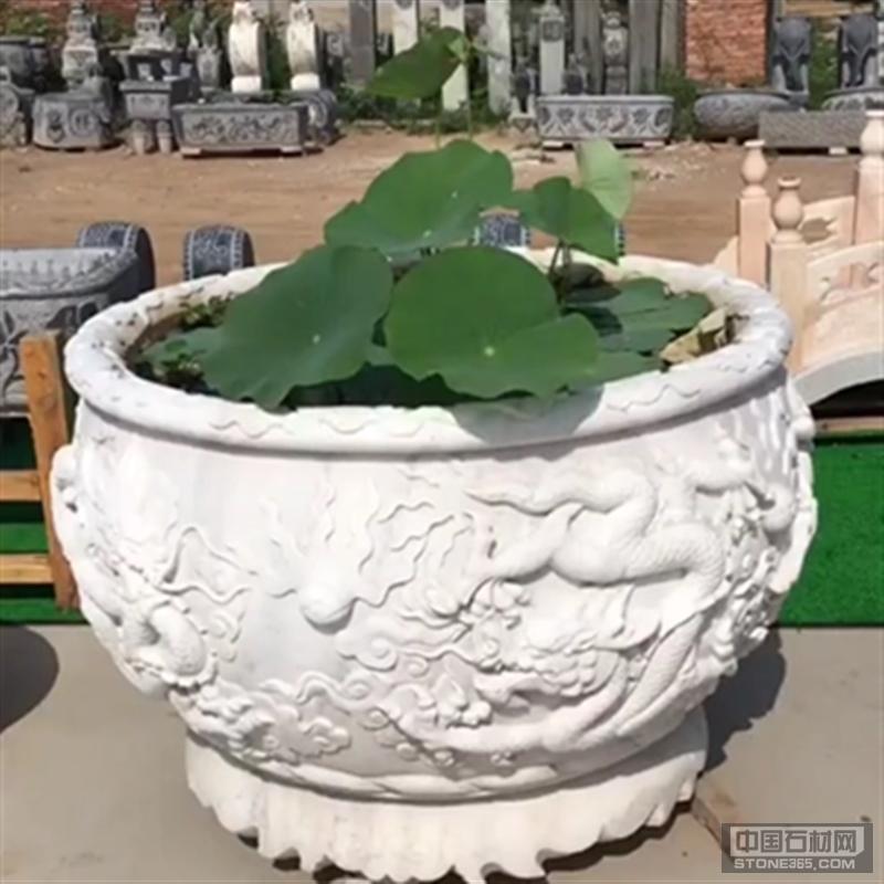 汉白玉别墅庭院摆放鱼缸花钵