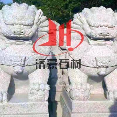 芝麻白石雕狮子