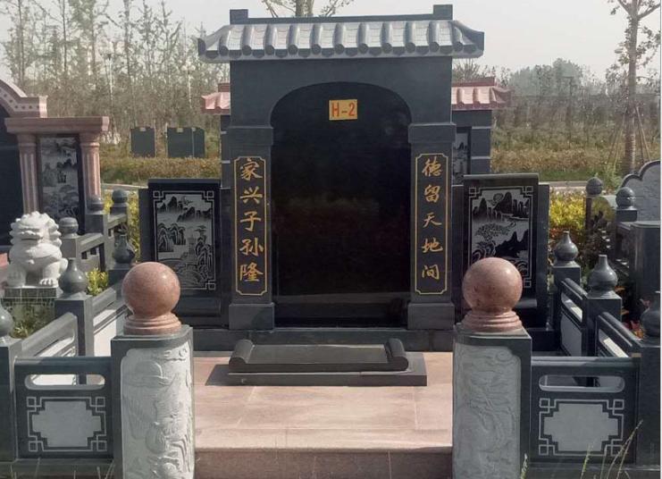 中国蓝中式墓碑