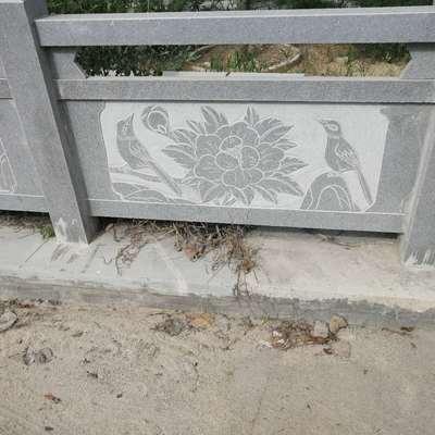 异型雕刻芝麻灰石材河道栏杆
